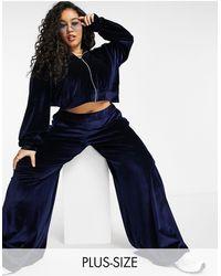 Fashionkilla Exclusive Velour Zip Through Hoodie Co-ord - Blue