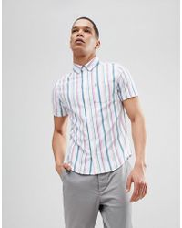 Original Penguin - Slim Fit Short Sleeve Waffle Shirt With Button Down Collar In White/pink Stripe - Lyst