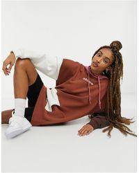 adidas Originals 'cosy Comfort' Fleece Oversized Hoodie Dress - Brown