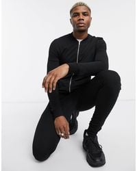 ASOS Muscle Tracksuit With Bomber Jacket - Black