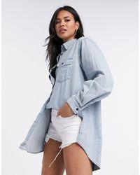 Missguided Boyfriend Oversized Overhemd Van Denim - Blauw