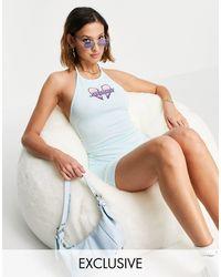 Santa Cruz Robe dos-nu moulante avec imprimé cœur - bleu - Rose