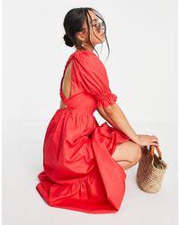 TOPSHOP Ruched Shoulder Poplin Smock Midi Dress - Red