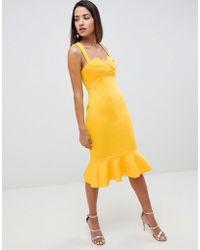 ASOS - Square Neck Fold Front Midi Dress With Pephem - Lyst