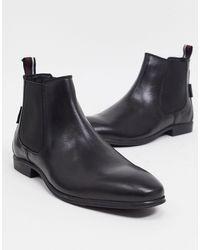 Ben Sherman Черные Кожаные Ботинки Челси -черный Цвет