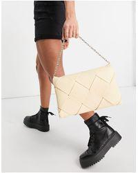 TOPSHOP Pochette grande con design intrecciato color latticello - Giallo
