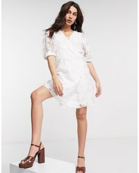 Object Wrap Organza Dress With Puff Sleeves And Sequin Details - White