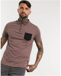 ASOS Polo Shirt With Contrast Pocket - Brown