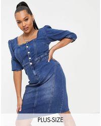 Simply Be - Джинсовое Платье Миди Синего Цвета С Квадратным Вырезом -голубой - Lyst