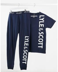 Lyle & Scott Ensemble top et pantalon confort avec logo - Bleu marine