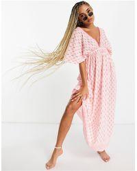 South Beach Пляжное Платье Белого/розового Цвета С Расклешенными Рукавами -белый