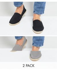 ASOS - Asos Canvas Espadrilles In Black And Grey 2 Pack Save - Lyst
