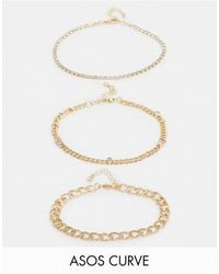 ASOS Asos Design Curve Pack Of 3 Bracelets With Fine Crystal Curb Chains - Multicolour