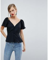 ASOS - Design Waisted Button Front Top - Lyst