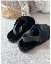 ASOS Premium Sheepskin Slipper With Elastic Strap On Chunky Sole - Black