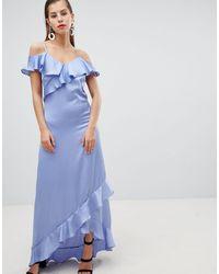 Y.A.S Satin Cold Shoulder Frill Maxi Dress - Blue