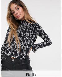 Miss Selfridge Blusa accollata a maniche lunghe nera a fiori - Nero