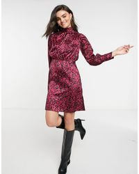 Closet Атласное Платье Мини С Высоким Воротом И Звериным Принтом -многоцветный - Красный