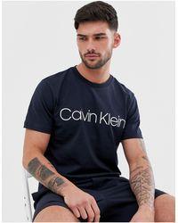 Calvin Klein Темно-синяя Футболка С Логотипом -темно-синий