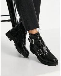 Steve Madden - Черные Ботинки На Плоской Массивной Подошве С Пряжками, Заклепками И Эффектом Крокодиловой Кожи Hoofy-черный Цвет - Lyst