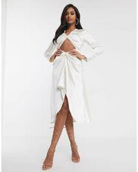 UNIQUE21 Белое Платье Миди С Вырезом Unique 21-кремовый - Белый