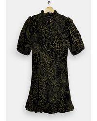 TOPSHOP - Зеленое Чайное Платье Мини С Высоким Воротником Со Звериным Принтом -зеленый Цвет - Lyst