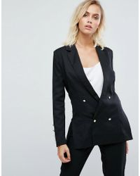Fashion Union Double Breasted Blazer With Pearl Buttons - Black