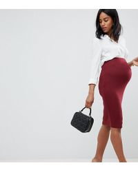 35ac72f7fa9 ASOS Collection Asos Pencil Skirt with Zip Front in Brown - Lyst