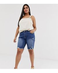 Simply Be Longline Denim Shorts With Distressing In Stonewash - Blue