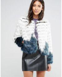 Glamorous Faux Fur Ombre Jacket - Blue