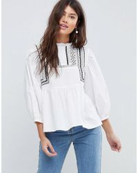 ASOS - Cotton Victoriana Top With Contrast Lace Detail - Lyst