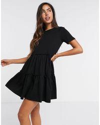 River Island Черное Свободное Платье-футболка Мини Ярусного Кроя -черный