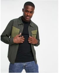 Only & Sons Zip Through Worker Jacket With Chest Pockets - Green