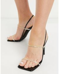 SIMMI Shoes Черные Босоножки На Каблуке Со Стразами Simmi London Chanelle-черный Цвет
