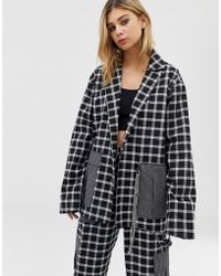 The Ragged Priest Mixed Check Blazer With Chain Detail - Black