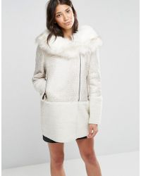 Glamorous Coat With Faux Fur Collar - Natural