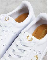 Fred Perry Белые Кожаные Кроссовки С Золотистой Отделкой B721-белый