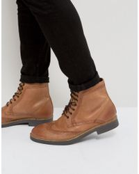 Frank Wright - Milled Brogue Boots Tan Leather - Lyst