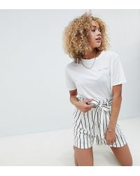 ASOS - Asos Design Petite Tailored Linen Casual Short With Tie Waist In Stripe - Lyst