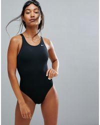 Nike - Solids Black Swimsuit - Lyst