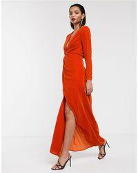 ASOS Бархатное Платье Макси С Разрезом Сбоку И Глубоким Вырезом -розовый Цвет - Оранжевый