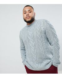 ASOS - Asos Plus Cable Knit Sweater In Steel Blue - Lyst