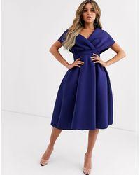 ASOS Темно-синее Платье Миди Для Выпускного С Поясом И Спущенным Плечом - Синий