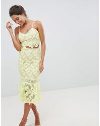 Love Triangle - Cutwork Lace Pencil Skirt With Fluted Lace - Lyst