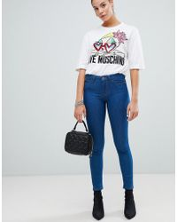 Love Moschino Mid Rise Blue Skinny Jeans