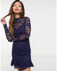 Little Mistress Lace Sleeve Skater Dress - Blue