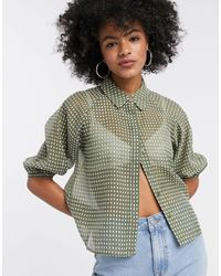 Object Sheer Shirt - Green