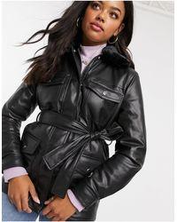 New Look Черная Куртка Из Искусственной Кожи -черный Цвет