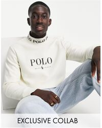 Polo Ralph Lauren - Sudadera color crema con cinta del logo en el cuello y logo en el pecho - Lyst