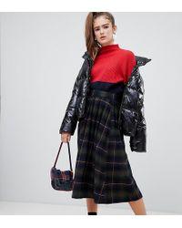 60d02f6bda Monki - Plaid Print Midi Skirt In Navy And Green - Lyst